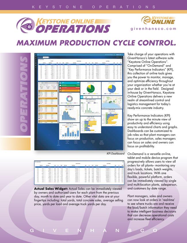 GivenHansco Inc , Ready Mixed Concrete Software – Keystone